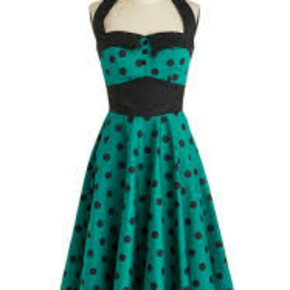 Emerald Green Retro Style Dress